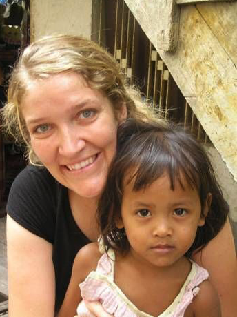 A Cambodian child with Amy.